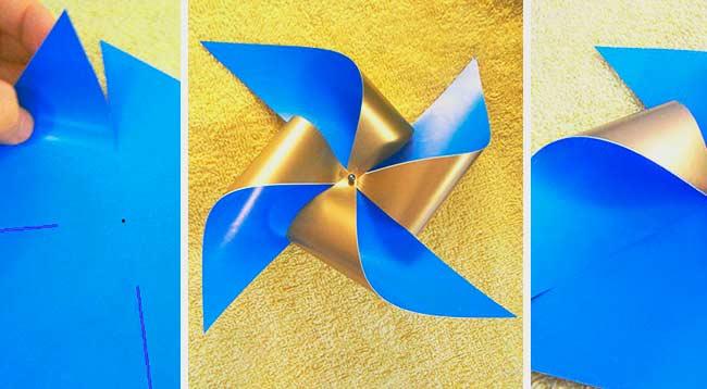 Красивая вертушка-флюгер из бумаги