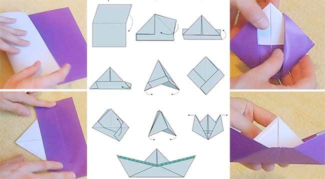 Самая простая схема бумажного непромокаемого кораблика