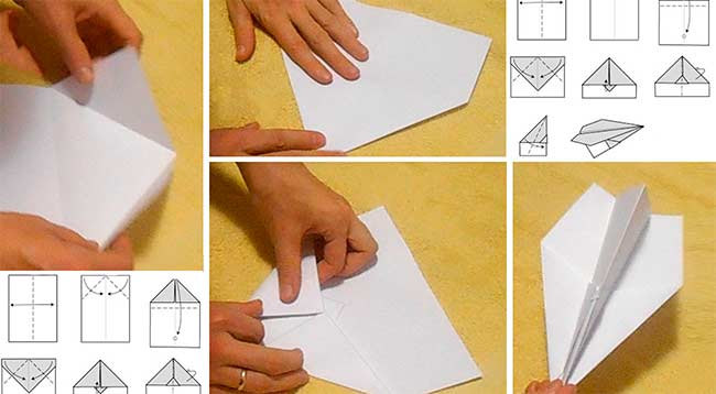 Самая простая схема бумажного планерного самолетика